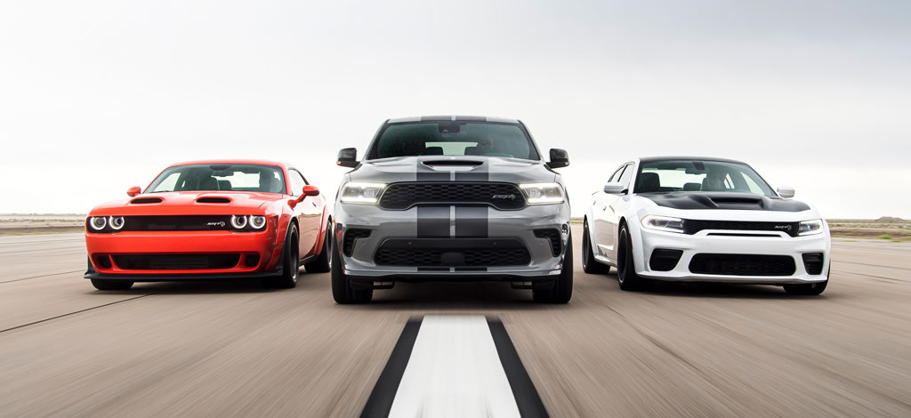 Dodge/SRT Performance Lineup: 2020 Challenger SRT Super Stock, 2021 Durango SRT Hellcat, 2021 Charger SRT Hellcat Redeye