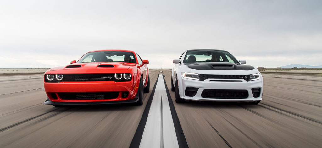 2020 Dodge Challenger SRT Super Stock (left) and 2021 Dodge Charger SRT Hellcat (right)