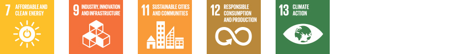 Sustainable Development Goals: Affordable and clean energy - Industry, Innovation and Infrastructure - Sustainable cities and communities - Responsible consumption and production - Climate action