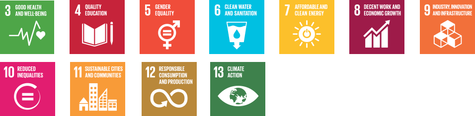 Sustainability Goals: 3 - Good Health and Well-being; 4 - Quality Education; 5 - Gender Equality; 6 - Clean Water and Sanitation; 7 - Affordable and Clean Energy; 8 - Decent Work and Economic Growth; 9 - Industry, Innovation and Infrstructure; 10 - Reduced Inequality; 11 - Sustainable Cities and Communities; 12 - Responsible Consumption and Production; 13 - Climate Action.