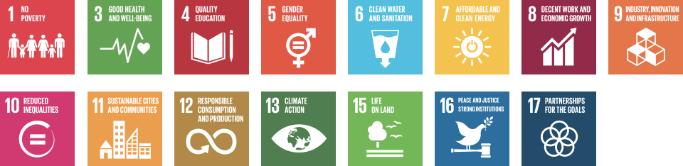 Sustainability Goals: 1 - No Poverty;  3 - Good Health and Well-being; 4 - Quality Education; 5 - Gender Equality; 6 - Clean Water and Sanitation; 7 - Affordable and Clean Energy; 8 - Decent Work and Economic Growth; 9 - Industry, Innovation and Infrstructure; 10 - Reduced Inequality; 11 - Sustainable Cities and Communities; 12 - Responsible Consumption and Production; 13 - Climate Action; 15 - Life on Land; 16 - Peace and Justice Strong Institutions; 17 - Partnerships for the Goals.