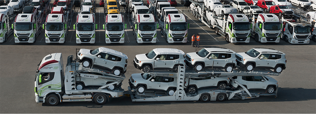 Green Logistic trucks and cars