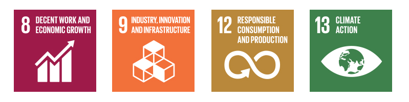 Sustainability Goals: 8 - Decent Work and Economic Growth; 9 - Industry, Innovation and Infrastructure; 12 - Responsible Consuption and Production; 13 - Climate Action