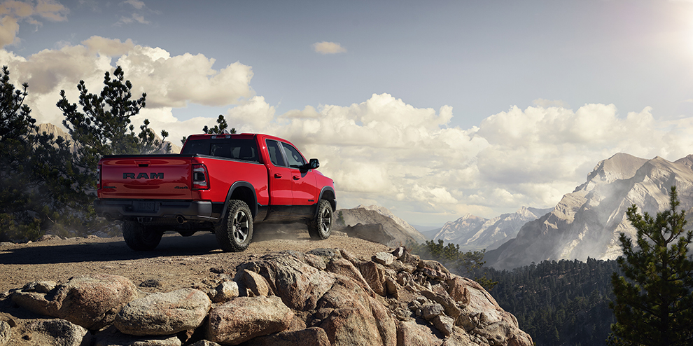 Ram 1500 red in the mountains